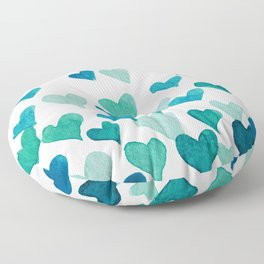 Valentine's Day Watercolor Hearts - turquoise Floor Pillow