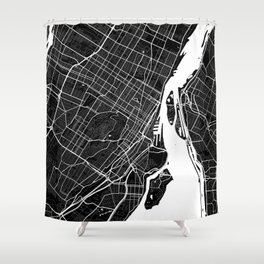 Montreal - Minimalist City Map Shower Curtain