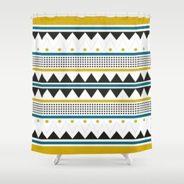 Mustard and teal tribal pattern Shower Curtain