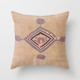 Blush Tan and Pink Medallion // 19th Century Authentic Colorful Baby Blue Cowboy Accent Pattern Throw Pillow