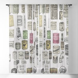 Vintage Victorian food cans Sheer Curtain