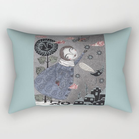 Snow Stars White, Snow Stars Bright Rectangular Pillow