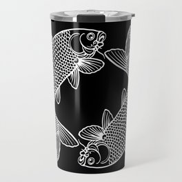 Black White Koi Minimalist Travel Mug