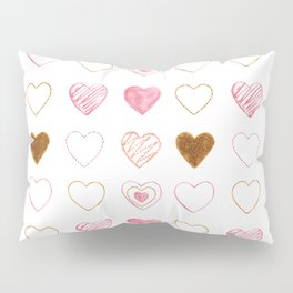 Pink and Gold Hearts Doodle Art Pillow Sham
