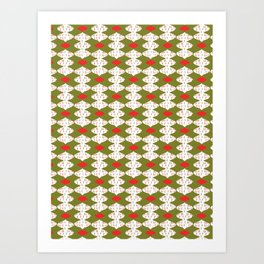 trendy christmas card ornaments festive pattern Baubles Art Print