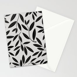 Black and White Plant Leaves Pattern Stationery Cards