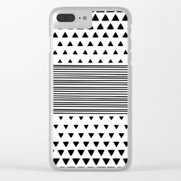 Stripes and Triangles Geometric Modern Black and White Clear iPhone Case