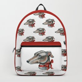Greyhound, lurcher, whippet dog with red bowtie Backpack