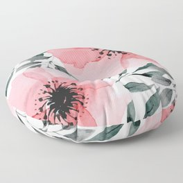 Big Watercolor Flowers Floor Pillow