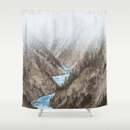 Mountain blue river Shower Curtain