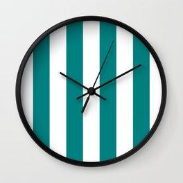 Vertical Stripes - White and Dark Cyan Wall Clock