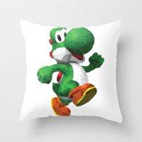 yoshi Throw Pillows featuring Yoshi Geometric by Sharna Myers