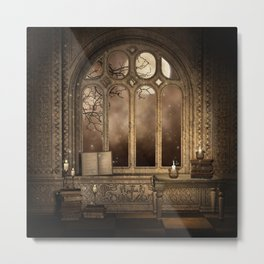 Gothic Library Window Metal Print
