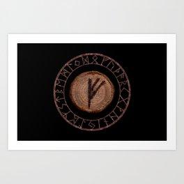 Fehu Elder Futhark rune Possessions, earned income, luck. Abundance, financial strength, hope Art Print