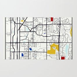 Carmel Indiana Mondrian Map art gift Rug