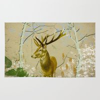bebop Area & Throw Rugs featuring Deer in the forest II by pascal+