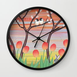 chickadees, pussy willow, & tulips Wall Clock