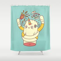 junk food Shower Curtains featuring junk food kills by failuretalent