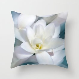 Flowers white macro 057 Throw Pillow