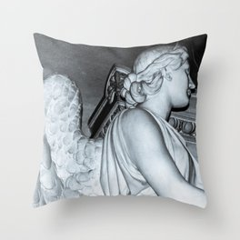 Angel in St Peters Basilica B/W Photo by Larry Simpson Throw Pillow