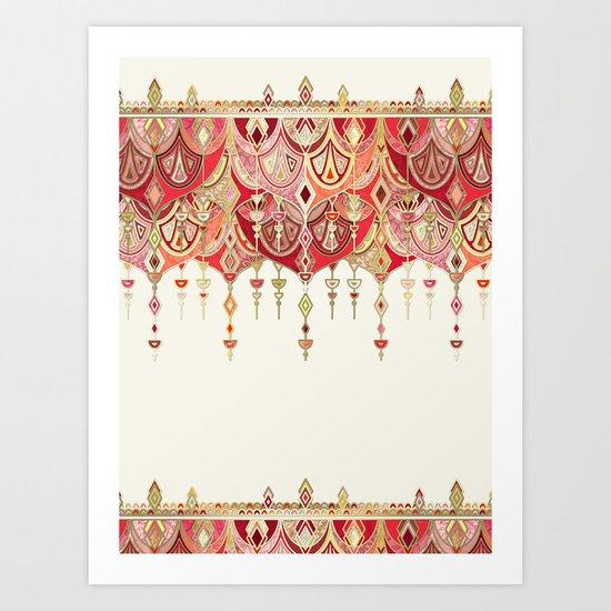 Royal Red Art Deco Double Drop Art Print