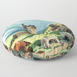 Loch Ness Vintage Travel Poster Floor Pillow