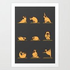 Pug Yoga // Black Art Print