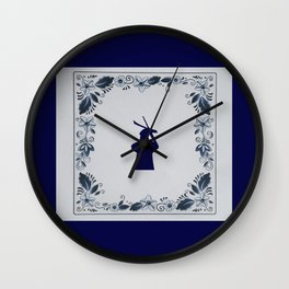 Delft blue tile windmill Wall Clock