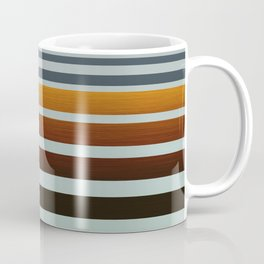 Masculine Grey Blue Wood Grain Gradient Stripes Coffee Mug