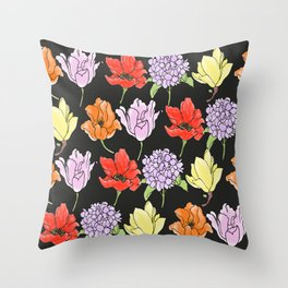 dark crowded floral Throw Pillow