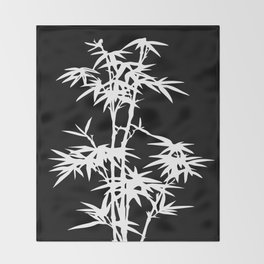 Black and White Bamboo Silhouette Throw Blanket