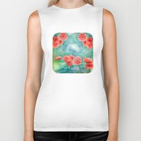 poppies Biker Tanks featuring Poppies by LudaNayvelt