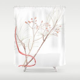 Winter Branches (white pine and rose hips) in Watercolor Shower Curtain