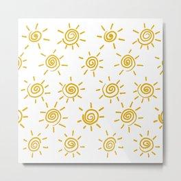 Mustard Sun Tribal Pattern Metal Print