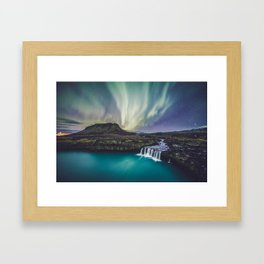 Northern Lights at Thjofafoss (Iceland) Framed Art Print