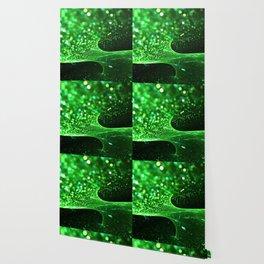 Green Glitter Wave Wallpaper
