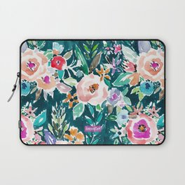EFFUSIVE FLORAL Dark & Colorful Boho Pattern Laptop Sleeve