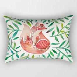 Woodland Fox – Green Leaves Rectangular Pillow