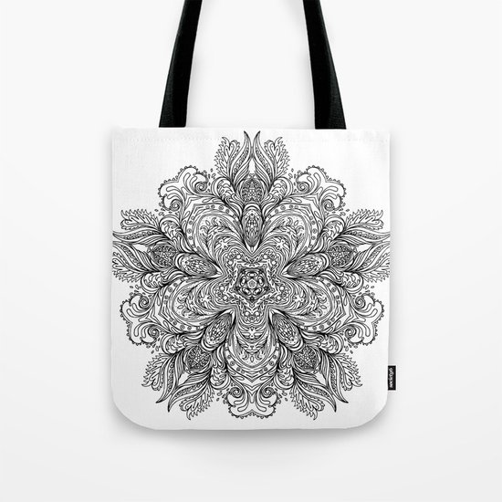 B&W Indian Mandala Tote Bag