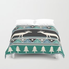 Christmas pattern with deer Duvet Cover