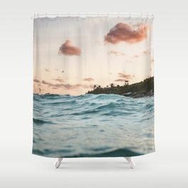 Waves at the sunset Shower Curtain
