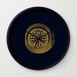 The golden compass I- maritime print with gold ornament Wall Clock