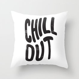 Chill Out Vintage Black and White Throw Pillow