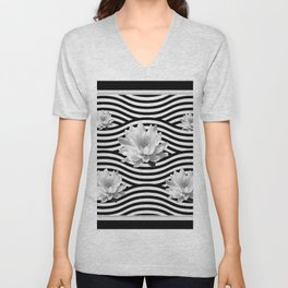 Black & White Water Lilies Water Garden Unisex V-Neck