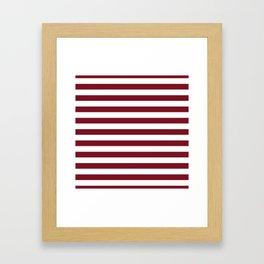 Deep Dark Red Pear and White Horizontal Beach Hut Stripe Framed Art Print