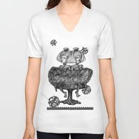 gothic V-neck T-shirts featuring Gothic Twins by AKIKO