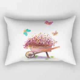 Flowers Cart Watecolor Rectangular Pillow