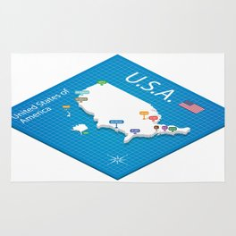 Isometric map of the USA - 3D Vector Illustration Rug