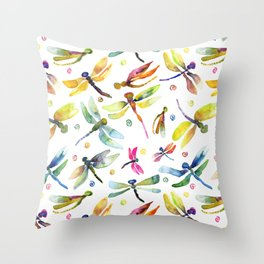 Watercolor Dragonfly Bursting by Michelle Scott of dotsofpaint studios Throw Pillow