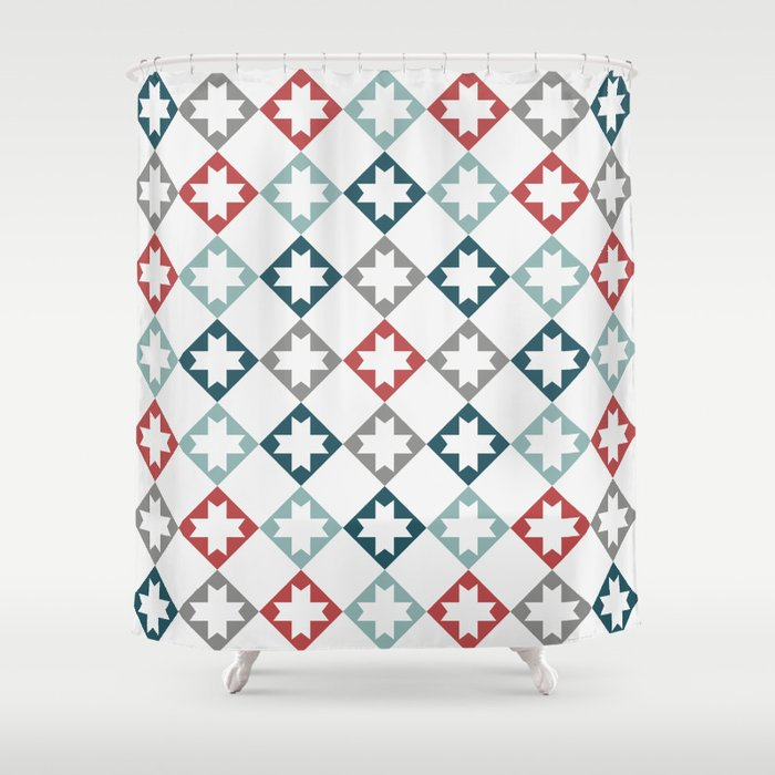 Modern Farmhouse Quilt Pattern Vintage Inspired NorthStar And Diamond Harlequin Print Shower Curtain